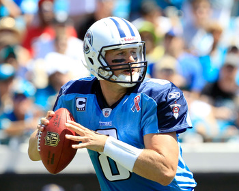 JACKSONVILLE, FL - SEPTEMBER 11:  Matt Hasselbeck #8 of the Tennessee Titans attempts a pass during the season opener game against the Jacksonville Jaguars at EverBank Field on September 11, 2011 in Jacksonville, Florida.  (Photo by Sam Greenwood/Getty Im