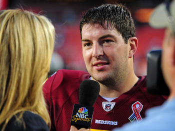 LANDOVER, MD - SEPTEMBER 11: Rex Grossman #8 of the Washington Redskins is interviewed after the game against the New York Giants at FedEx Field on September 11, 2011 in Landover, Maryland. (Photo by Scott Cunningham/Getty Images)