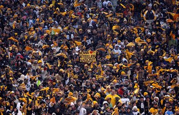 PITTSBURGH - JANUARY 11:  Fans of the Pittsburgh Steelers wave terrible towel in support of their team against the San Diego Chargers during their AFC Divisional Playoff Game on January 11, 2009 at Heinz Field in Pittsburgh, Pennsylvania.  (Photo by Chris