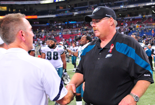 ST. LOUIS, MO - SEPTEMBER 11: Head Coach Andy Reid of the Philadelphia Eagles shakes hands with Head Coach Steve Spagnuolo of the St. Louis Rams after a game at the Edward Jones Dome on September 11, 2011 in St. Louis, Missouri. The Eagles defeated the Ra