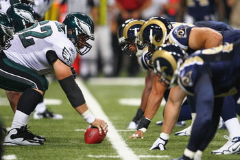 ST. LOUIS - SEPTEMBER 11: Jason Kelce #62 of the Philadelphia Eagles lines up against the St. Louis Rams at the Edward Jones Dome on September 11, 2011 in St. Louis, Missouri. The Eagles beat the Rams 31-13. (Photo by Dilip Vishwanat/Getty Images)