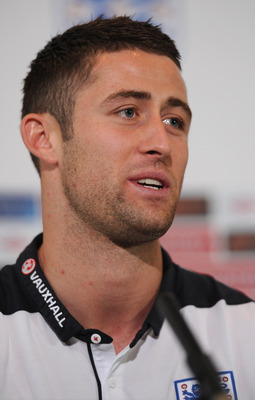 HERTFORD, ENGLAND - SEPTEMBER 04:  Gary Cahill speaks to the media during the England press conference ahead of their UEFA EURO 2012 Group G qualifier against Wales at The Grove Hotel on September 4, 2011 in Hertford, England.  (Photo by Michael Regan/Get