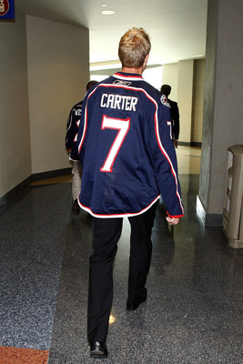COLUMBUS,OH - JULY 21:  Jeff Carter #7 of the Columbus Blue Jackets and James Wisniewski #21 of the Columbus Blue Jackets leave the arena after meeting the media for the first time during a press conference on July 21, 2011 at Nationwide Arena in Columbus