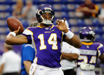 MINNEAPOLIS, MN - AUGUST 27: Joe Webb #14 of the Minnesota Vikings warms up before the game against the Dallas Cowboys on August 27, 2011 at Hubert H. Humphrey Metrodome in Minneapolis, Minnesota. (Photo by Hannah Foslien/Getty Images)
