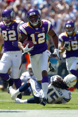 SAN DIEGO, CA - SEPTEMBER 11:  Percy Harvin #12 of the Minnesota Vikings runs back the openig kick for a touchdown during their season opener against the San Diego Chargers on September 11, 2011 at Qualcomm Stadium in San Diego, California. (Photo by Dona
