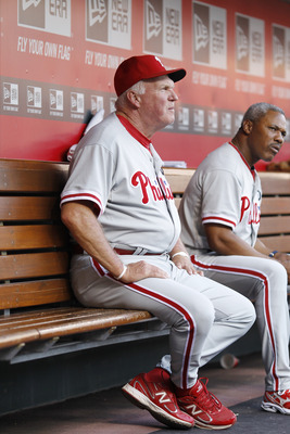 CINCINNATI, OH - AUGUST 30: Philadelphia Phillies manager Charlie Manuel looks on during the game against the Cincinnati Reds at Great American Ball Park on August 30, 2011 in Cincinnati, Ohio. The Phillies won 9-0. (Photo by Joe Robbins/Getty Images)
