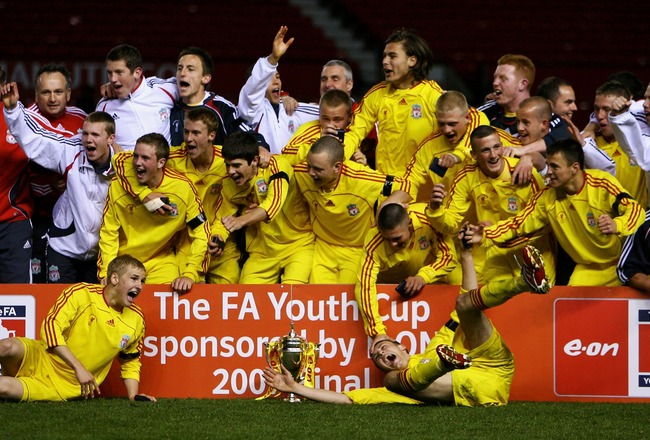MANCHESTER, UNITED KINGDOM - APRIL 26: Liverpool celebrate beating Manchester United on penalties during the FA Youth Cup 2nd Leg match between Manchester United and Liverpool at Old Trafford on April 26, 2007, in Manchester, England.  (Photo by Matthew L