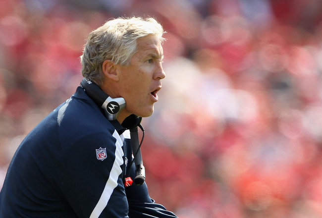 SAN FRANCISCO, CA - SEPTEMBER 11: Seattle Seahawks head coach Pete Carroll walks the sidelines during their season opener against the San Francisco 49ers at Candlestick Park on September 11, 2011 in San Francisco, California.  (Photo by Ezra Shaw/Getty Im
