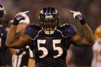 BALTIMORE, MD - AUGUST 25:  Terrell Suggs #55 of the Baltimore Ravens reacts after a play against the Washington Redskins during a preseason game at M&T Bank Stadium on August 25, 2011 in Baltimore, Maryland.  (Photo by Rob Carr/Getty Images)
