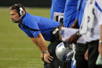 CLEVELAND, OH - AUGUST 19: head coach Jim Schwartz of the Detroit Lions watches from the sidelines during the second quarter against the Cleveland Browns at Cleveland Browns Stadium on August 19, 2011 in Cleveland, Ohio. (Photo by Jason Miller/Getty Image