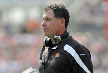 CLEVELAND, OH - SEPTEMBER 11: Head coach Pat Shurmur of the Cleveland Browns reacts to an officials call against the Browns during the first quarter against the Cincinnati Bengals at Cleveland Browns Stadium during a season opener on September 11, 2011 in
