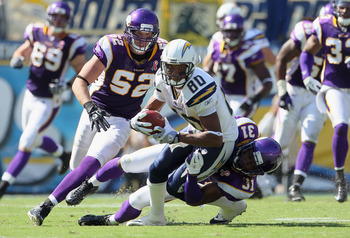 SAN DIEGO, CA - SEPTEMBER 11:  Wide receiver Malcolm Floyd #80 of the San Diego Chargers is brought down by Chris Cook #31 of the Minnesota Vikings as Chad Greenway #52 of the Vikings pursues during the second half at Qualcomm Stadium on September 11, 201