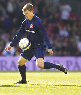 COPENHAGEN, DENMARK - APRIL 25:  Chris Rolfe of Aalborg BK during the Danish SAS-Ligaen match between FC Copenhagen and Aalborg BK at Parken stadium on April 25, 2010 in Copenhagen, Denmark.  (Photo by Andreas Hillergren / EuroFootball / Getty Images)