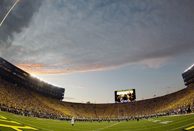 ANN ARBOR, MI - SEPTEMBER 10:  The Michigan Marching Band performs prior to the Michigan Wolverines playing the Notre Dame Fighting Irish at the first ever night game at Michigan Stadium on September 10, 2010 in Ann Arbor, Michigan. (Photo by Gregory Sham