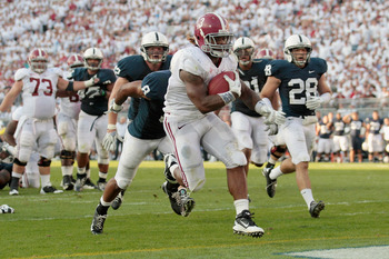 STATE COLLEGE, PA - SEPTEMBER 10:  Running back Trent Richardson #3 of the Alabama Crimson Tide crosses the goal line for a touchdown against the Penn State Nittany Lions during the second half at Beaver Stadium on September 10, 2011 in State College, Pen