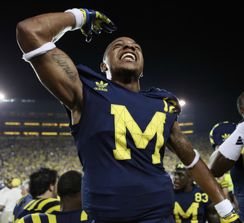ANN ARBOR, MI - SEPTEMBER 10: Roy Roundtree #12 of the University of Michigan celebrates a 35-31 win over the Notre Dame Irish at Michigan Stadium on September 10, 2011 in Ann Arbor, Michigan. (Photo by Leon Halip/Getty Images)