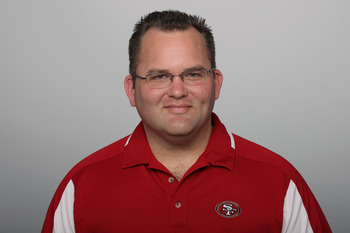 SAN FRANCISCO, CA - CIRCA 2011: In this handout image provided by the NFL,  Greg Roman of the San Francisco 49ers poses for his NFL headshot circa 2011 in San Francisco, California. (Photo by NFL via Getty Images)