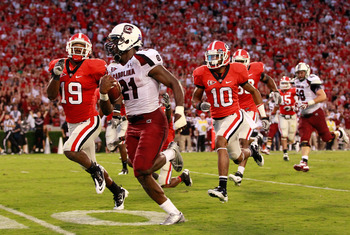 South Carolina RB Marcus Lattimore running for some of his 176 yards against Georgia