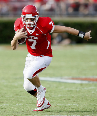 Houston QB Case Keenum, making a play with his feet