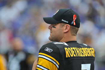BALTIMORE, MD - SEPTEMBER 11:  Ben Roethlisberger #7 of the Pittsburgh Steelers wears a pin commemorating the tenth anniversary of 9/11 before the game against the Baltimore Ravens at M&T Bank Stadium on September 11, 2011 in Baltimore, Maryland. The Rave