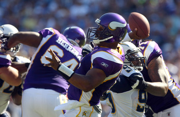 SAN DIEGO, CA - SEPTEMBER 11:  Donovan McNabb #5 of the Minnesota Vikings in action against the San Diego Chargers during their season-opening game on September 11, 2011 at Qualcomm Stadium in San DIego, California. (Photo by Donald Miralle/Getty Images)