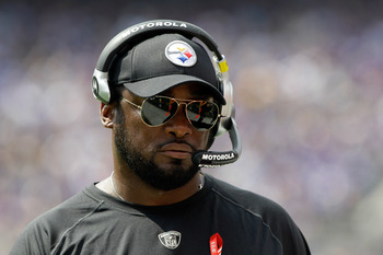 BALTIMORE, MD - SEPTEMBER 11:  Head coach Mike Tomlin of the Pittsburgh Steelers looks on from the sidelines during first half of the season opener against the Baltimore Ravens at M&T Bank Stadium on September 11, 2011 in Baltimore, Maryland.  (Photo by R