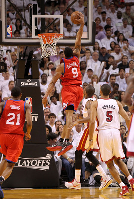 MIAMI, FL - APRIL 27:  Andre Iguodala #9 of the Philadelphia 76ers dunks during game five of the Eastern Conference Quarterfinals in the 2011 NBA Playoffs against the Miami Heat at American Airlines Arena on April 27, 2011 in Miami, Florida. NOTE TO USER: