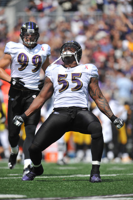 BALTIMORE, MD - SEPTEMBER 11:  Terrell Suggs #55 of the Baltimore Ravens celebrates a play against the Pittsburgh Steelers at M&T Bank Stadium on September 11, 2011 in Baltimore, Maryland. The Ravens defeated the Steelers 35-7. (Photo by Larry French/Gett