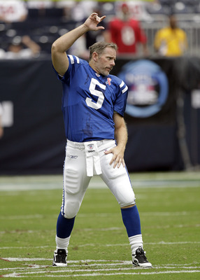 HOUSTON - SEPTEMBER 11:  Quarterback Kerry Collins #5 of the Indianapolis Colts warms up before playing the Houston Texans at Reliant Stadium  in a season opener on September 11, 2011 in Houston, Texas.  (Photo by Bob Levey/Getty Images)