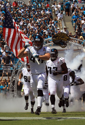 JACKSONVILLE, FL - SEPTEMBER 11:  Brock Bolen #44 of the Jacksonville Jaguars runs onto the field during their season opener against the Tennessee Titans at EverBank Field on September 11, 2011 in Jacksonville, Florida.  (Photo by Streeter Lecka/Getty Ima