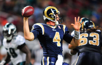 ST. LOUIS, MO - SEPTEMBER 11: A.J. Feeley #4 of the St. Louis Rams throws against the Philadelphia Eagles at the Edward Jones Dome on September 11, 2011 in St. Louis, Missouri. The Eagles defeated the Rams 31-15. (Photo by Jeff Curry/Getty Images)