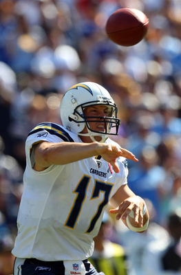 SAN DIEGO, CA - SEPTEMBER 11:  Philip Rivers #12 of the San Diego Chargers throws the ball against the Minnesota Vikings during their season-opening Game on September 11, 2011 at Qualcomm Stadium in San DIego, California. (Photo by Donald Miralle/Getty Im