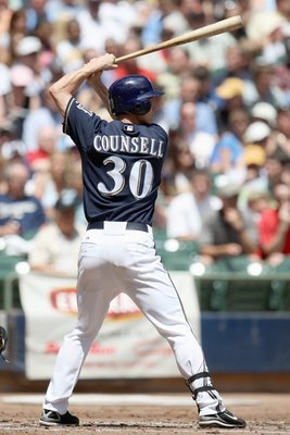 MILWAUKEE - JUNE 19: Craig Counsell #30 of the Milwaukee Brewers stands ready at bat during the game against the Toronto Blue Jays on June 19, 2008 at Miller Park in Milwaukee, Wisconsin. (Photo by Jonathan Daniel/Getty Images)