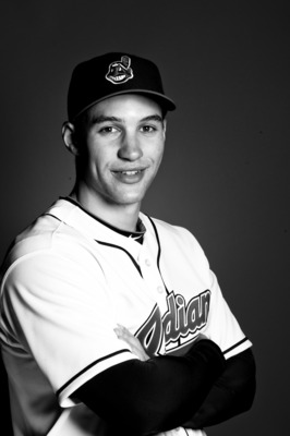 GOODYEAR, AZ - FEBRUARY 22: (*** EDITOR'S NOTE*** IMAGE HAS BEEN DIGITALLY CONVERTED TO BLACK & WHITE) Grady Sizemore #24 of the Cleveland Indians poses during their photo day at the Cleveland Indians Spring Training Complex on February 22, 2011 in Goodye