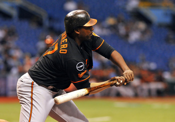 ST. PETERSBURG, FL - SEPTEMBER 02:  Designated hitter Vladimir Guerrero #27 of the Baltimore Orioles takes a pitch for a walk against the Tampa Bay Rays September 2, 2011 at Tropicana Field in St. Petersburg, Florida. (Photo by Al Messerschmidt/Getty Imag