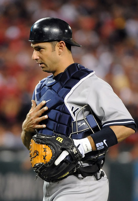 ANAHEIM, CA - SEPTEMBER 10:  Catcher Jorge Posada #20 of the New York Yankees reacts during the game against the Los Angeles Angels of Anaheim at Angel Stadium of Anaheim on September 10, 2011 in Anaheim, California.  (Photo by Lisa Blumenfeld/Getty Image