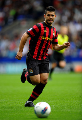 BOLTON, ENGLAND - AUGUST 21:   Sergio Aguero of Manchester City in action during the Barclays Premier League match between Bolton Wanderers and Manchester City at the Reebok Stadium on August 21, 2011 in Bolton, England.  (Photo by Laurence Griffiths/Gett