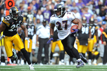 BALTIMORE, MD - SEPTEMBER 11:  Ray Rice #27 of the Baltimore Ravens runs the ball against the Pittsburgh Steelers at M&T Bank Stadium on September 11, 2011 in Baltimore, Maryland. The Ravens defeated the Steelers 35-7. (Photo by Larry French/Getty Images)