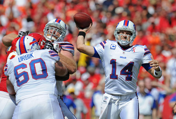 KANSAS CITY, MO - SEPTEMBER 11:  Quarterback Ryan Fitzpatrick #14 of the Buffalo Bills throws the ball down the field against the Kansas City Chiefs during the third quarter on September 11, 2011 at Arrowhead Stadium in Kansas City, Missouri.  The Bills b
