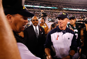 EAST RUTHERFORD, NJ - SEPTEMBER 11:  Head coach Jason Garrett of the Dallas Cowboys congratulated head coach Rex Ryan of the New York Jets after the jets won 27-24 during their NFL Season Opening Game at MetLife Stadium on September 11, 2011 in East Ruthe