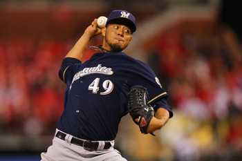 ST. LOUIS, MO -SEPTEMBER 6: Starter Yovani Gallardo #49 of the Milwaukee Brewers pitches against the St. Louis Cardinals at Busch Stadium on September 6, 2011 in St. Louis, Missouri.  (Photo by Dilip Vishwanat/Getty Images)