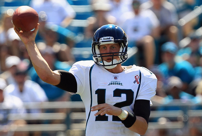 JACKSONVILLE, FL - SEPTEMBER 11:  Luke McCown #12 of the Jacksonville Jaguars thows a pass against the Tennessee Titans during their season opener at EverBank Field on September 11, 2011 in Jacksonville, Florida.  (Photo by Streeter Lecka/Getty Images)