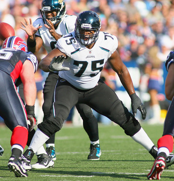 ORCHARD PARK, NY - OCTOBER 10: Eugene Monroe #75 of the Jacksonville Jaguars blocks against the Buffalo Bills at Ralph Wilson Stadium on October 10, 2010 in Orchard Park, New York. The Jaguars won 36-26. (Photo by Rick Stewart/Getty Images)