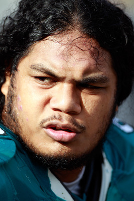 JACKSONVILLE, FL - DECEMBER 12:  Tyson Alualu #93 of the Jacksonville Jaguars waits on the sidelines during the game against the Oakland Raiders at EverBank Field on December 12, 2010 in Jacksonville, Florida.  (Photo by Sam Greenwood/Getty Images)
