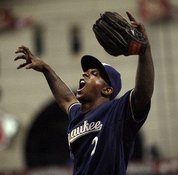 HOUSTON - SEPTEMBER 02:  Nyjer Morgan #2 of the Milwaukee Brewers plays to the fans as they defeat the Houston Astros 8-2 at Minute Maid Park on September 2, 2011 in Houston, Texas.  (Photo by Bob Levey/Getty Images)