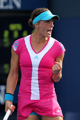 NEW YORK, NY - SEPTEMBER 08:  Andrea Petkovic of Germany reacts against Caroline Wozniacki of Denmark during Day Eleven of the 2011 US Open at the USTA Billie Jean King National Tennis Center on September 8, 2011 in the Flushing neighborhood of the Queens