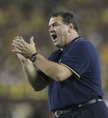 ANN ARBOR, MI - SEPTEMBER 10:  University of Michigan head coach Brady Hoke watches the action during the game against the Notre Dame Fighting at Michigan Stadium on September 10, 2011 in Ann Arbor, Michigan.  (Photo by Leon Halip/Getty Images)