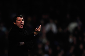 IPSWICH, ENGLAND - JANUARY 03:  Roy Keane manager of Ipswich Town shouts instructions during the npower Championship match between Ipswich Town and Nottingham Forest at Portman Road on January 3, 2011 in Ipswich, England.  (Photo by Jamie McDonald/Getty I
