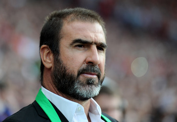 MANCHESTER, ENGLAND - AUGUST 05:  New York Cosmos Manager Eric Cantona looks on prior to Paul Scholes' Testimonial Match between Manchester United and New York Cosmos at Old Trafford on August 5, 2011 in Manchester, England. (Photo by Chris Brunskill/Gett