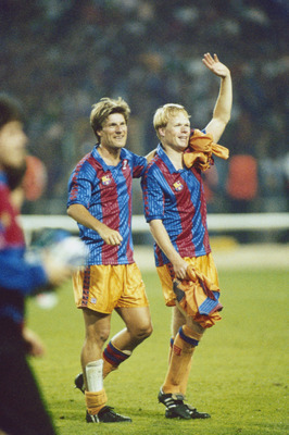 Ronald Koeman (right) and Michael Laudrup of Barcelona after their team beat Sampdoria 1-0 to win the European Cup Final at Wembley Stadium, London, 20th May 1992. Koeman's free-kick won the match. (Photo by David Cannon/Getty Images)
